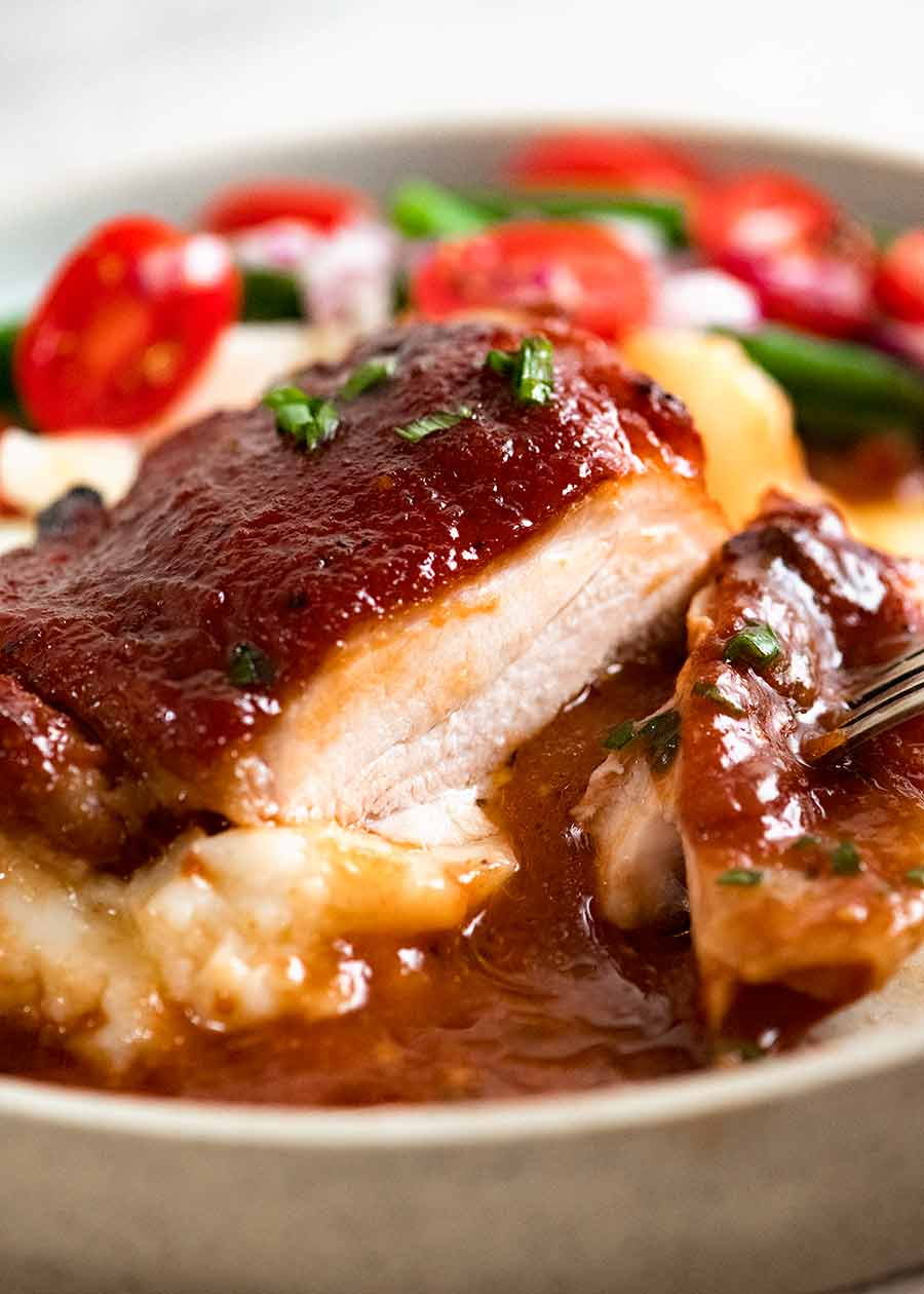 Oven Baked Barbecue Chicken on mashed potato with green bean salad