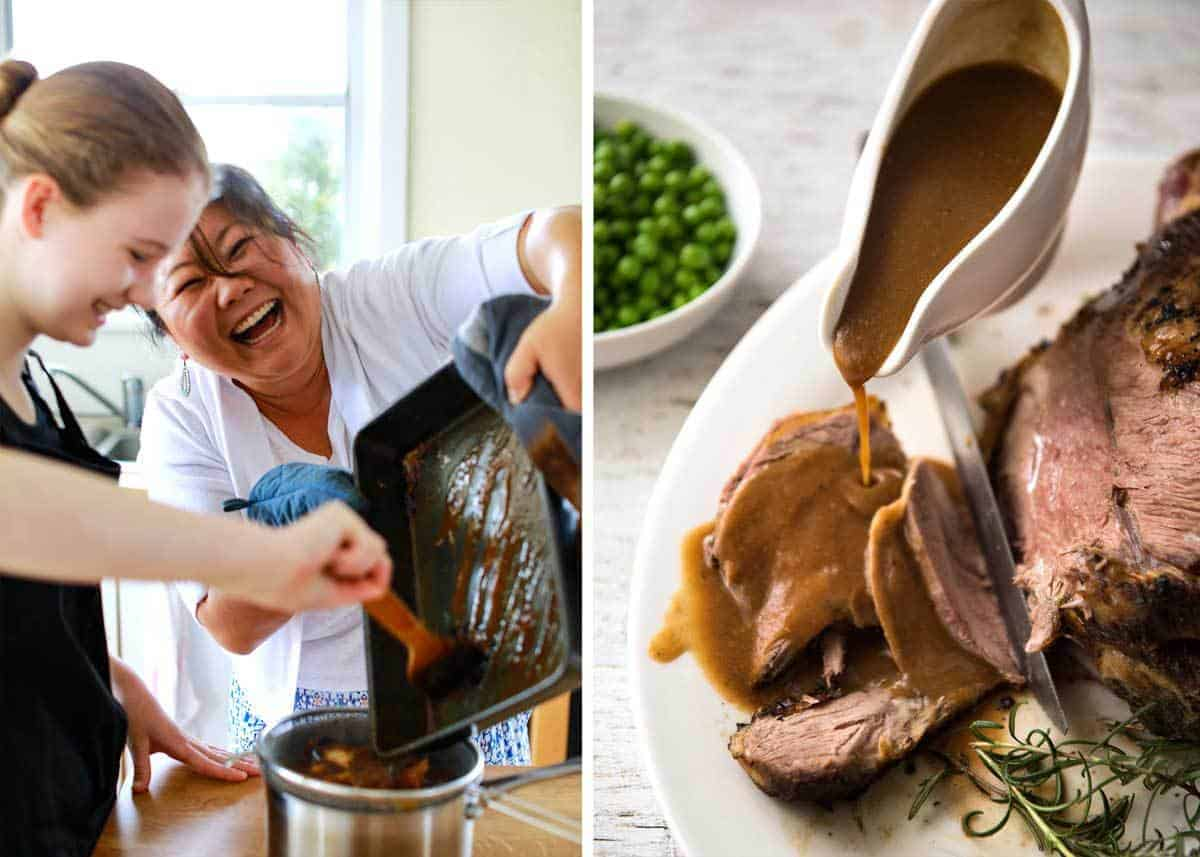 Gravy for Roast Lamb - 4 tbsp drippings + 3 tbsp flour + 2 cups beef or chicken broth. It
