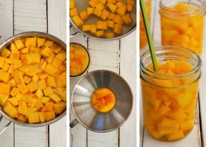 Photos showing canning pumpkin in a pressure cooker